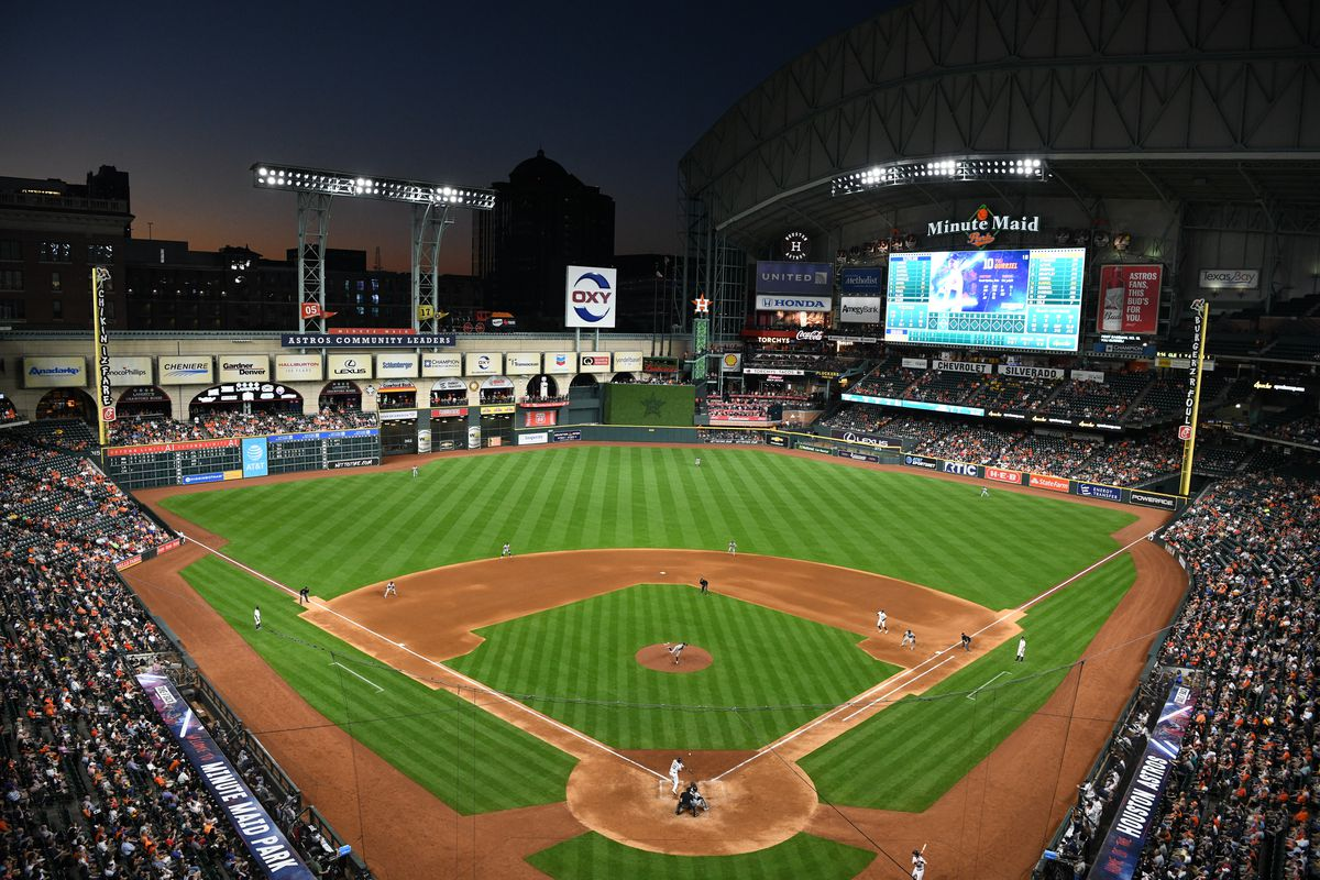 A general view of Minute Maid Park during the game between the Cleveland Indians and the Houston Astros on Thursday, April 25, 2019 in Houston, Texas.