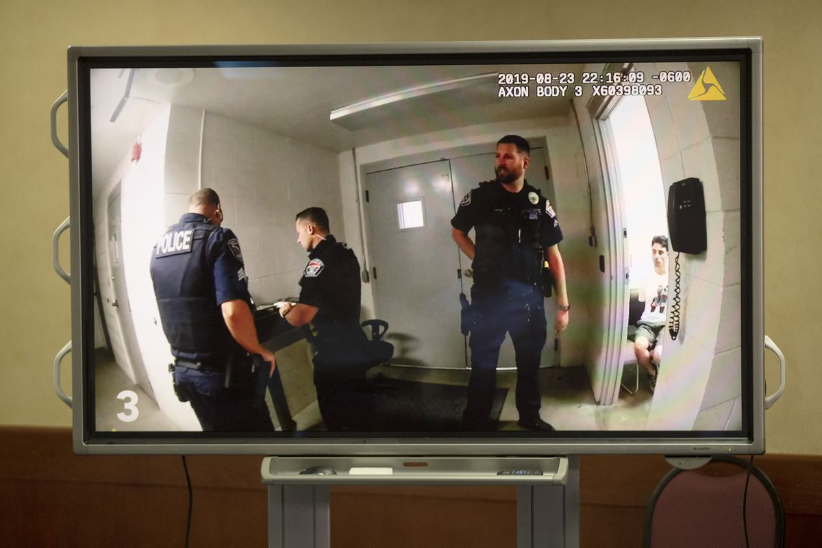 Body camera video of the officer-involved shooting of Michael Chad Breinholt is played during a press briefing at West Valley City Hall on Friday, Sept. 6, 2019. Breinholt was shot and killed in the DUI processing area of City Hall on Aug. 23, 2019.
