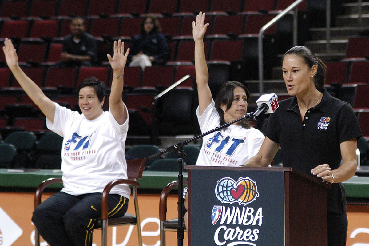 University of San Francisco women's basketball head coach Jennifer Azzi (left) has been a WNBA ambassador and advocate for women's fitness since retiring from playing professionally.