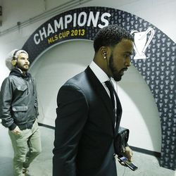 Kyle Beckerman and Robbie Findley walk to the locker room as Real Salt Lake players arrive at Sporting Park Saturday, Dec. 7, 2013 as they prepare to play Sporting KC in MLS Cup action.