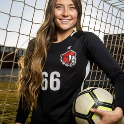 American Fork High School goalkeeper Haven Empey poses for photos on Wednesday, Nov. 13, 2019, after being named Ms. Soccer 2019 by the Deseret News.