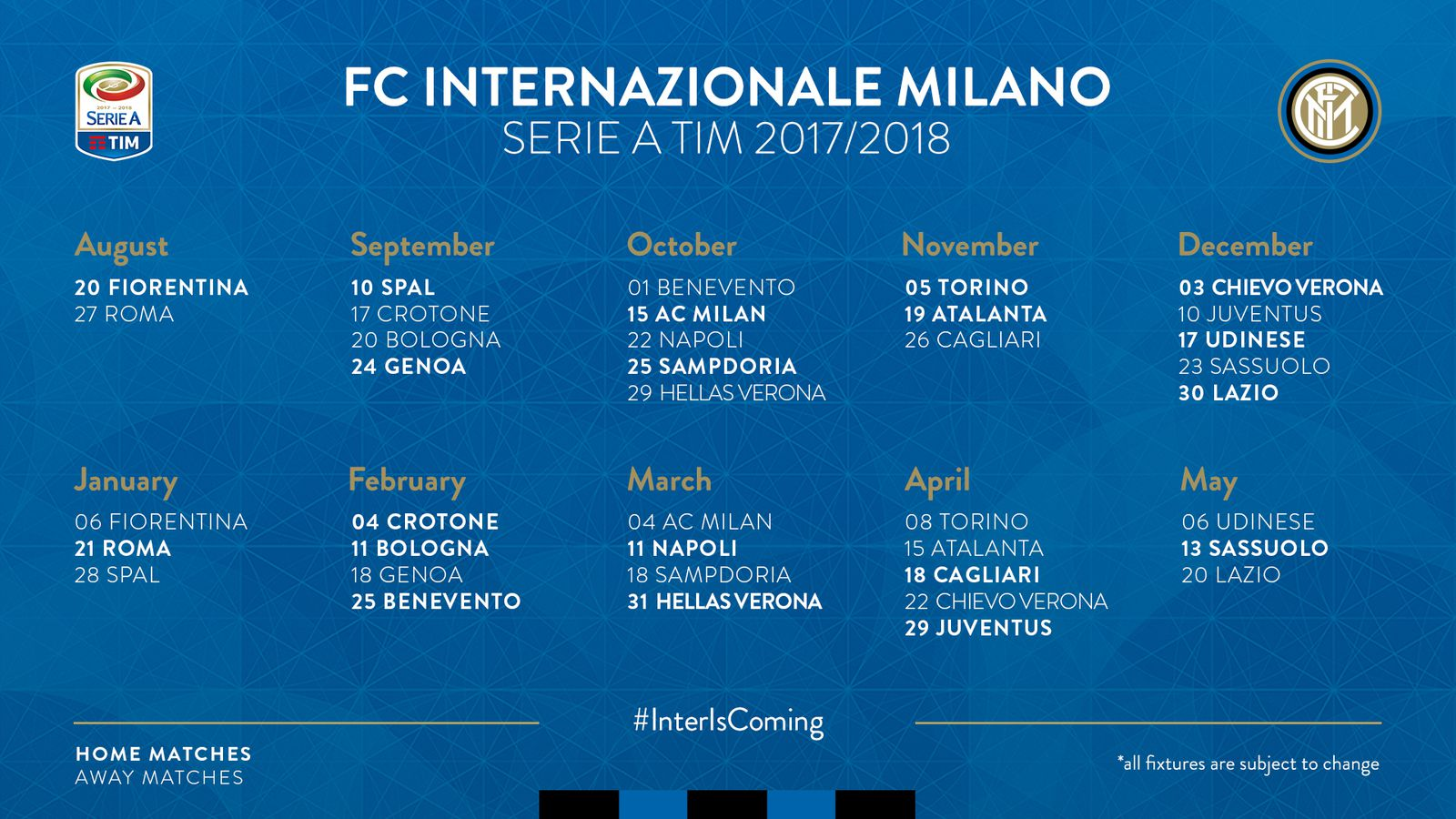Calendario Serie A As Roma.Inter Milan Will Be Home To Fiorentina To Start The 17 18