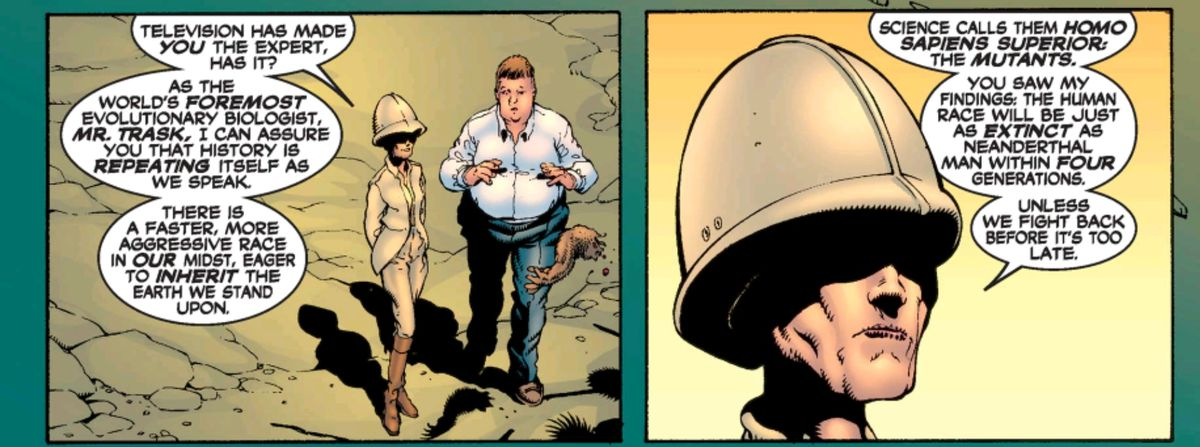 Cassandra Nova, dressed in very 19th century British colonial garb, complete with pith helmet, with Bolivar Trask, in New X-Men #114, Marvel Comics (2001).