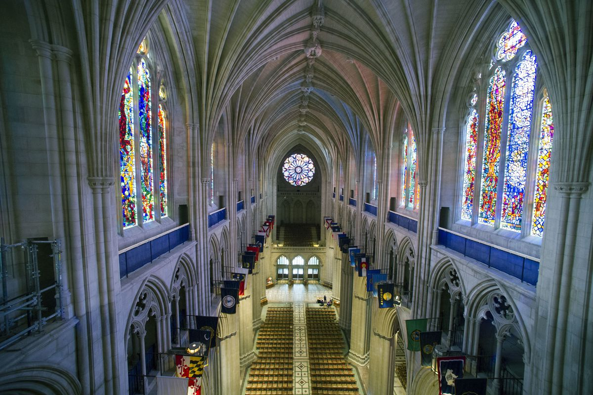 The nave of the Washington National Cathedral in Washington.