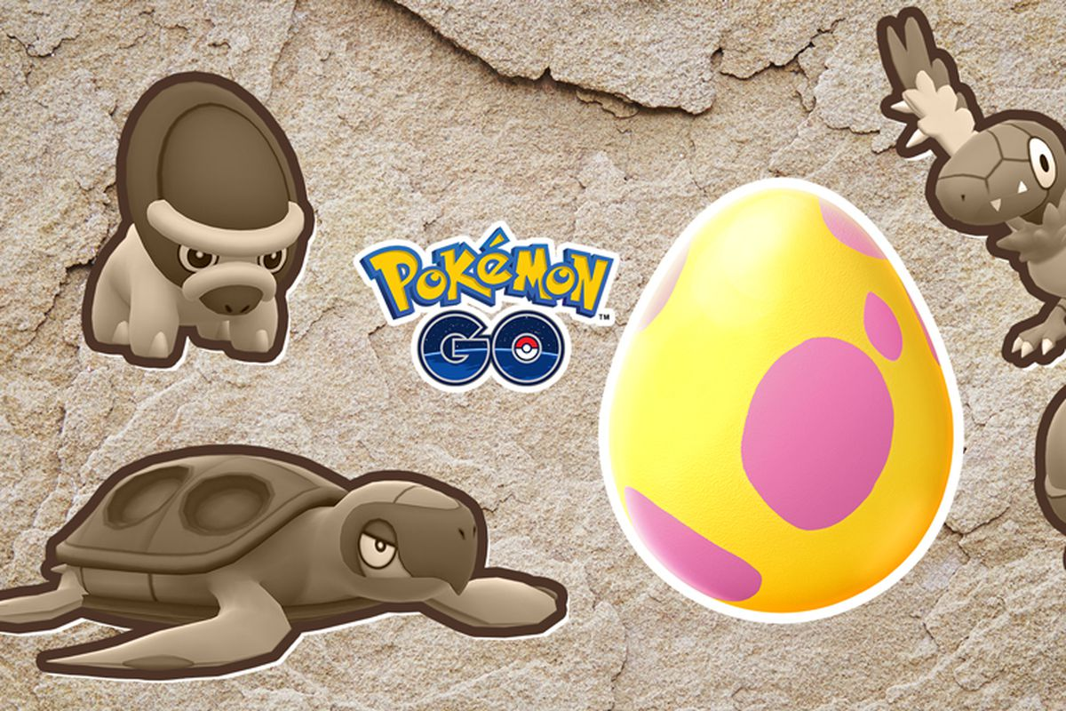Several sepia-toned fossil Pokémon surround a large yellow and pink egg.