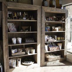 The retail bookcase at Honey Salt.