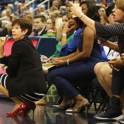 Notre Dame head coach Muffet McGraw looks on during the Notre Dame Fighting Irish vs UConn Huskies women's college basketball game in the Women's Jimmy V Classic at the XL Center in Hartford, CT on December 3, 2017.