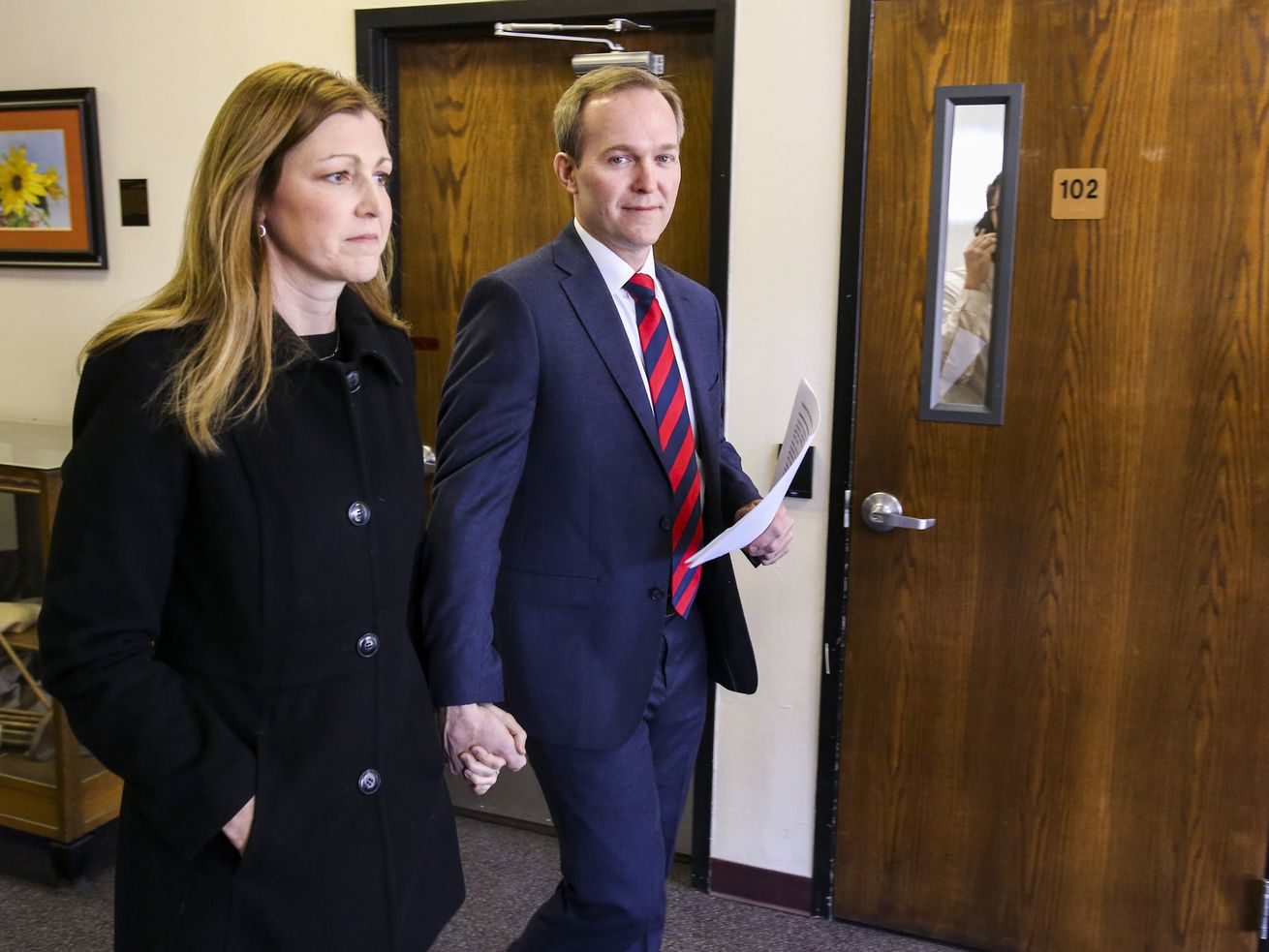Utah Rep. Ben McAdams, D-Utah, right, and his wife Julie McAdams leave Murray City Hall after McAdams announced he will vote yes to impeach President Donald Trump during a press conference in Murray City Hall in Murray on Monday, Dec. 16, 2019. During McAdams' brief statement, he admonished both political parties for their unwillingness to cross party lines,