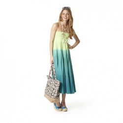 Dip-Dye Tiered Maxi Skirt in Green $34.99 (worn as dress), Linen Espadrille Wedges in Turquoise Print $29.99, Three-Layer Wood and Shell Necklace $29.99, Canvas Elephant-Print Tote in Brown $19.99