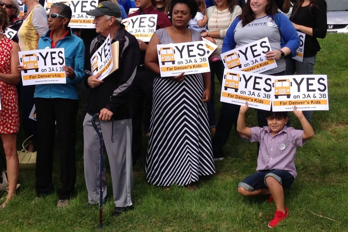 Supporters of the 2016 DPS bond issue and mill levy override at a kickoff event Friday.