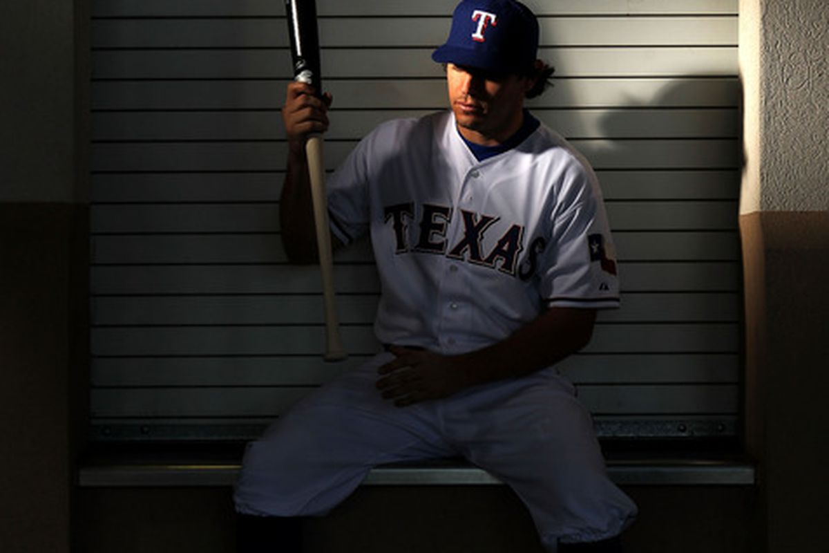 SURPRISE, AZ - FEBRUARY 28:  Ian Kinsler #5 of the Texas Rangers poses during spring training photo day on February 28, 2012 in Surprise, Arizona.  (Photo by Jamie Squire/Getty Images)