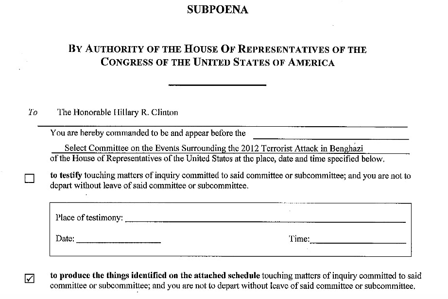 House Select Committee on Benghazi subpoena of Hillary Clinton