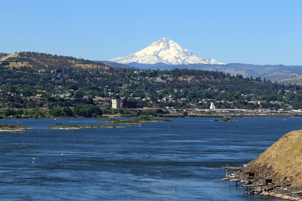 Mount Hood and the Columbia River at The Dalles Oregon