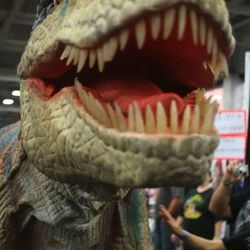 Dino Media showcases its velociraptor costume during Salt Lake  Comic Con. Despite having the name Comic Con, the convention showcases a variety of artists and guests outside of the comic book genre.