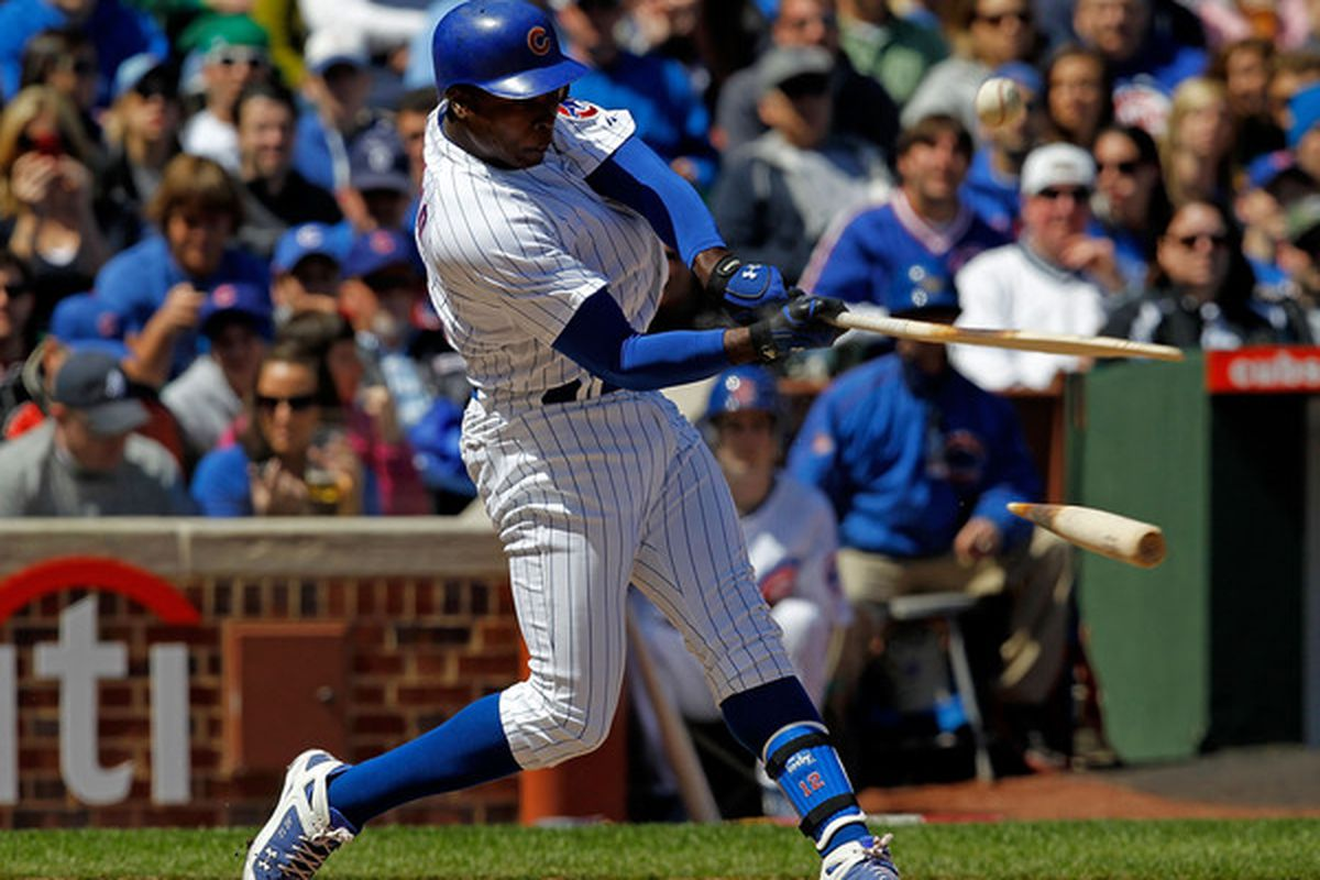 CHICAGO - APRIL 17: Alfonso Soriano #12 of the Chicago Cubs breaks his bat fouling off a pitch by Roy Oswalt of the Houston Astros at Wrigley Field on April 17, 2010 in Chicago, Illinois. (Photo by Jonathan Daniel/Getty Images)