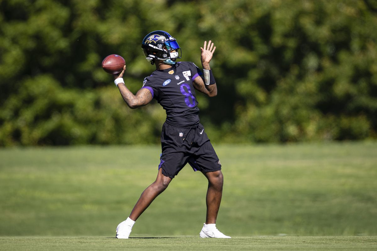 Lamar Jackson #8 of the Baltimore Ravens throws the ball during mandatory minicamp at Under Armour Performance Center on June 16, 2021 in Owings Mills, Maryland.