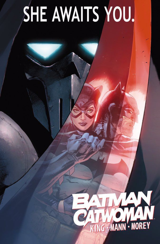 Batman and Catwoman reflected in the blade of the Phantasm in promotional art for Batman/Catwoman, DC Comics.