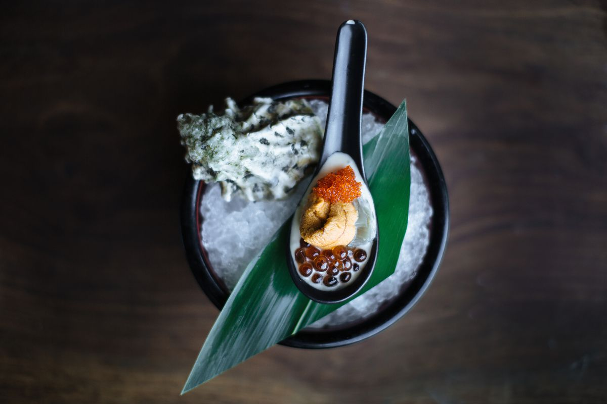 A spoon of uni and ikura from the Matheson
