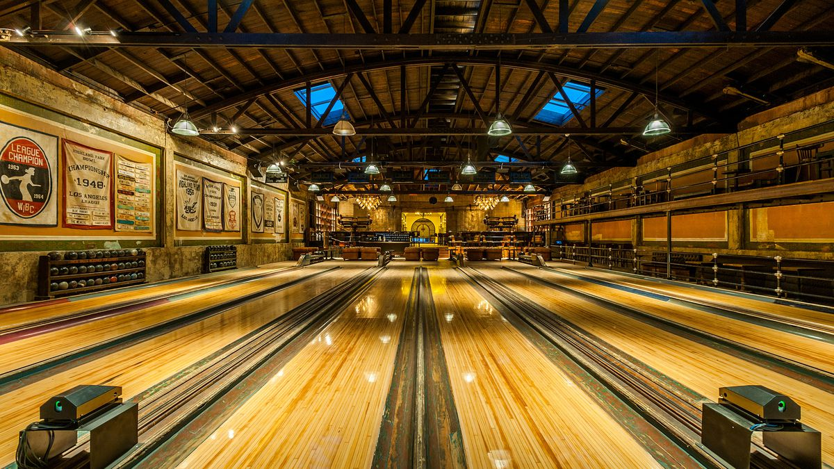 Bowling lanes at Highland Park Bowl in Highland Park, California.