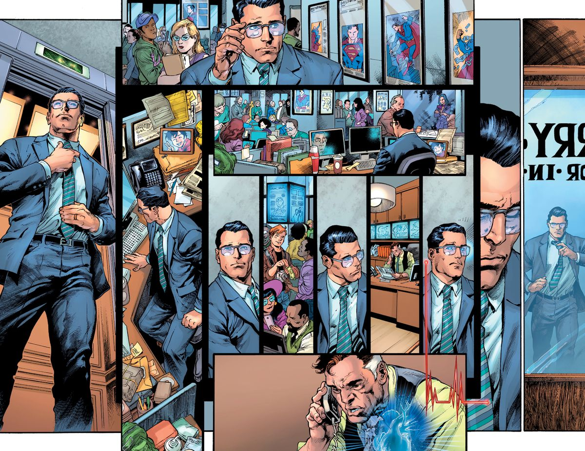 Clark Kent solemnly walks through the Daily Planet newsroom, past front page photos of Superman, to his desk, with a picture of his son. He looks at his coworkers, including Jimmy Olsen, he uses his superhering to listen to Perry White's heartbeat. Then he walks towards Perry's office, loosening his tie, in Superman #18, DC Comics (2019).
