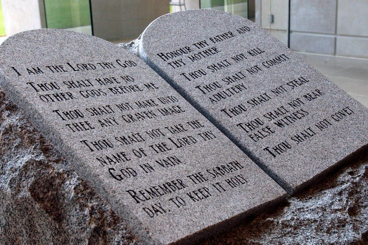 The Ten Commandments monument is pictured in the State Judicial Building in Montgomery, Ala., Thursday, Aug. 14, 2003.