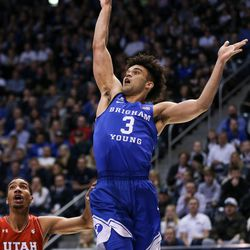 Brigham Young Cougars guard Elijah Bryant (3) lays it up during the game against the Utah Utes at the Marriott Center in Provo on Saturday, Dec. 16, 2017.