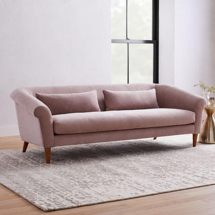 Dusty pink sofa.