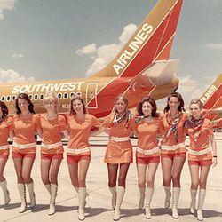 """Southwest's first stewardess uniform, introduced in 1971. Photo via <a href-""""http://www.tlc.com/tv-shows/on-the-fly/photos/southwest-vintage-flight-attendant-fashion-pictures.htm"""">TLC.</a>"""