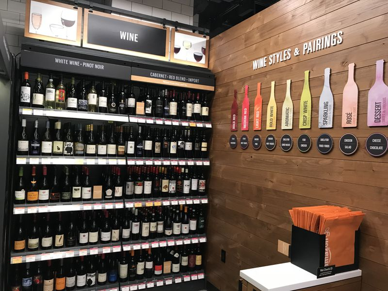 The wine section inside the Amazon Go store in Seattle