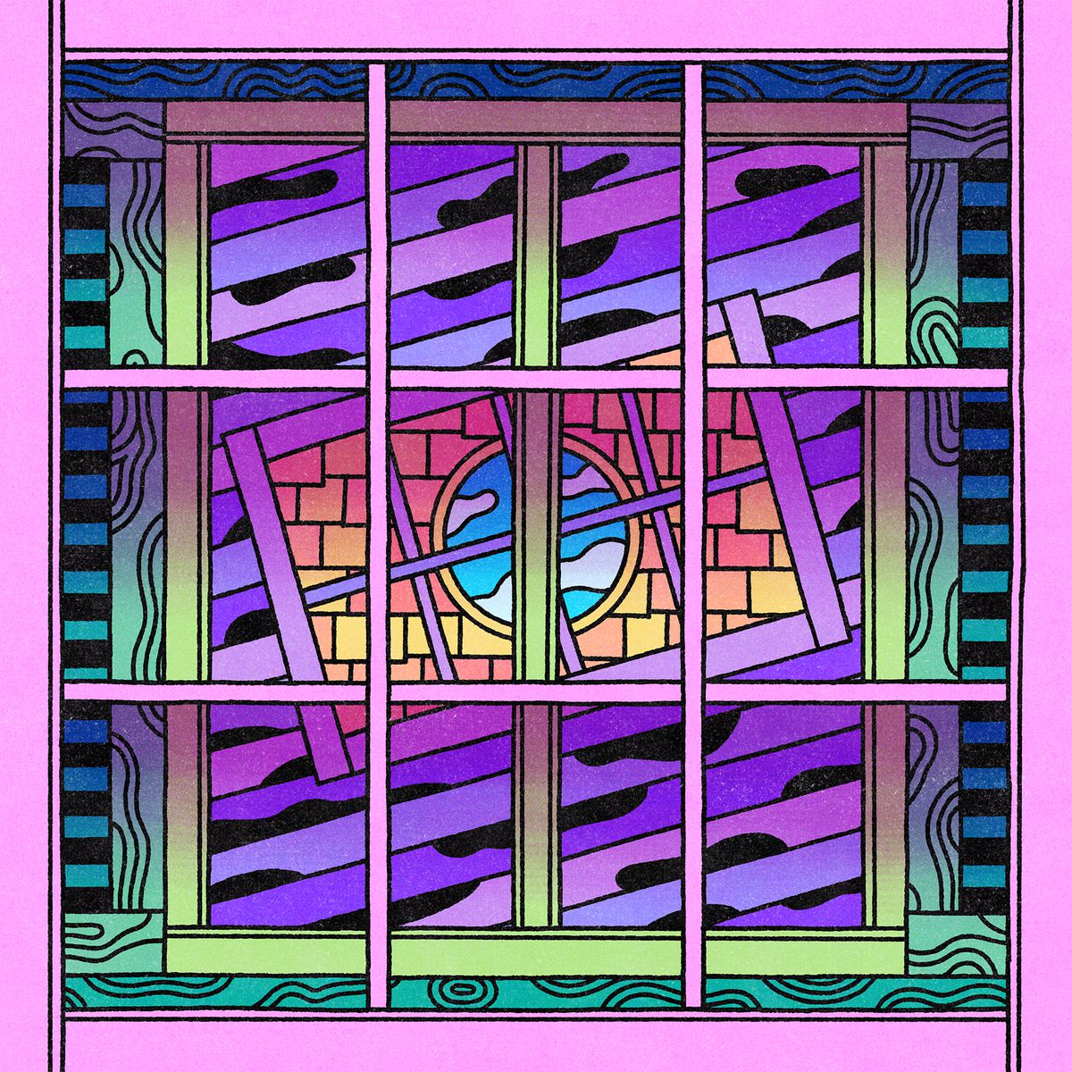 A series of psychedelic windows, one in front of the other. A visual metaphor for blocking out negative vibes. Illustration.