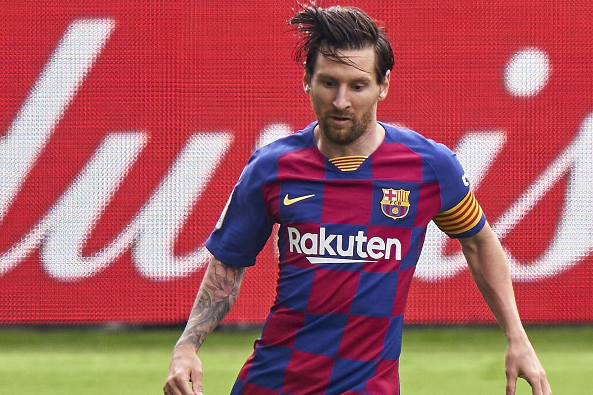 Lionel Messi of FC Barcelona in action during the Liga match between RC Celta de Vigo and FC Barcelona at Abanca-Balaídos on June 27, 2020 in Vigo, Spain.