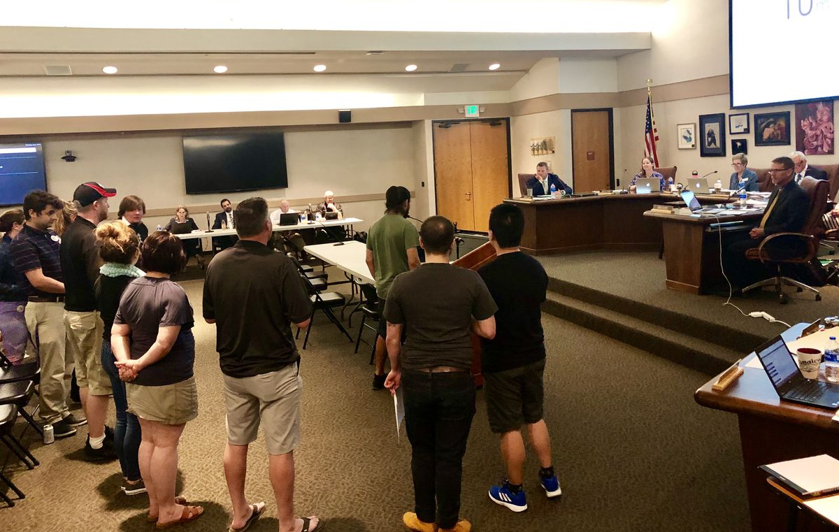 Teachers and members of the Jefferson County Education Association speak before the Jeffco School Board Thursday night, pushing for strengthened anti-discrimination policies.