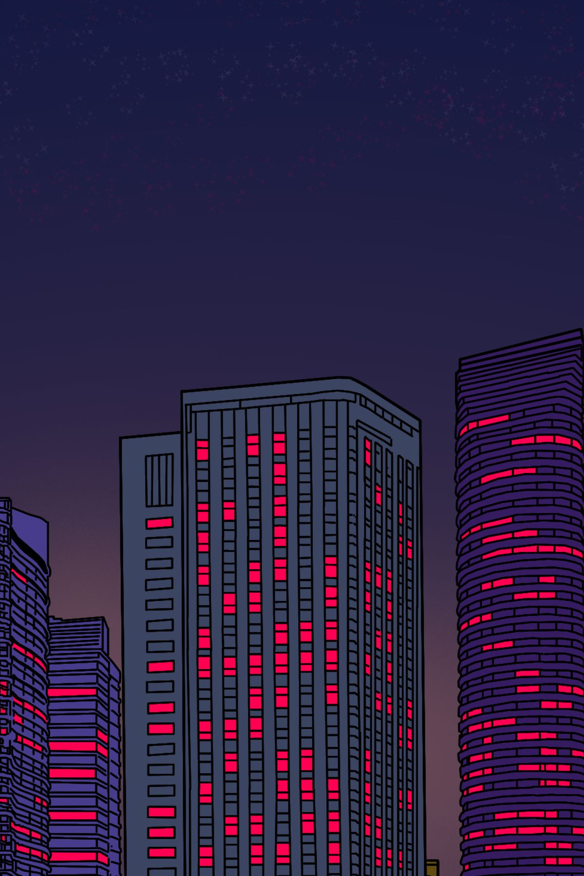 The image of the city zooms in further on rows and rows of windows, each one lit up with the same pink light.