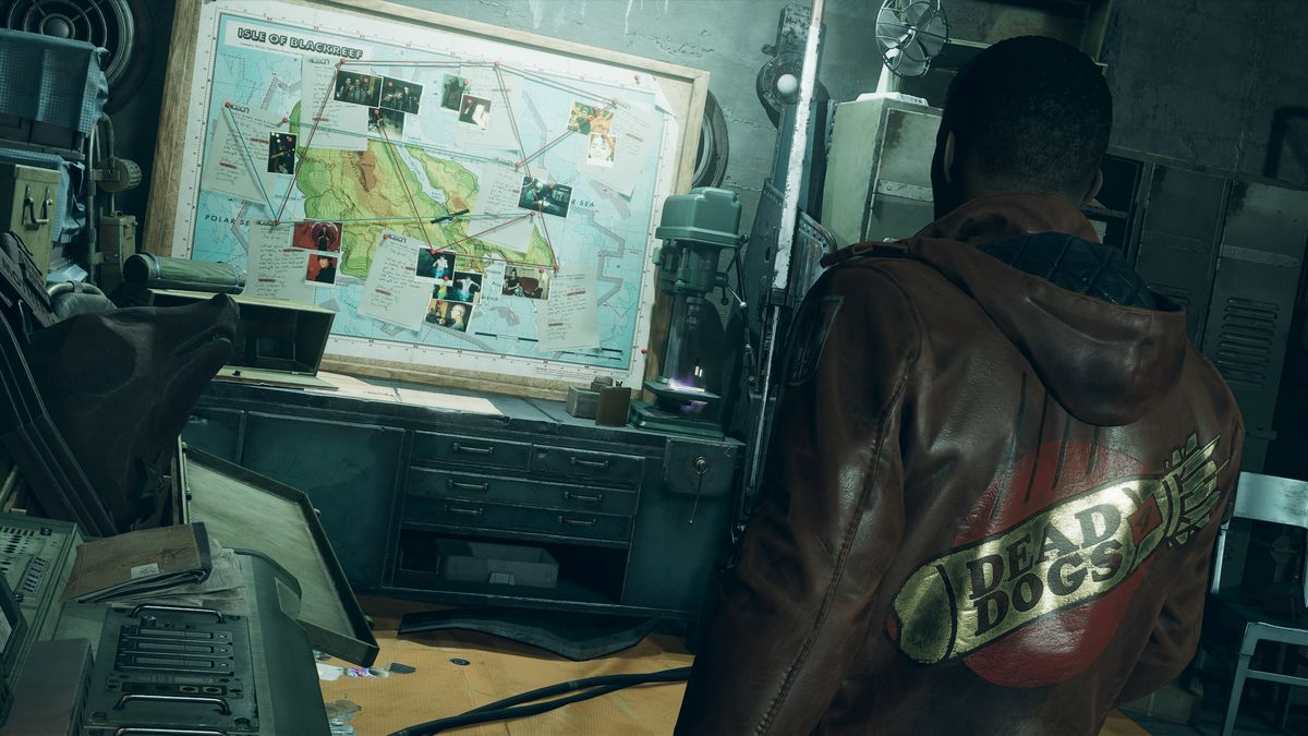 Colt looks at a map of the island Blackreef in Deathloop