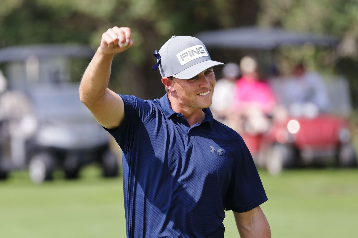 Derek Fribbs celebrates a double eagle during the final round of the Utah Open in Provo on Sunday, Aug. 22, 2021. Fribbs won the Utah Open.