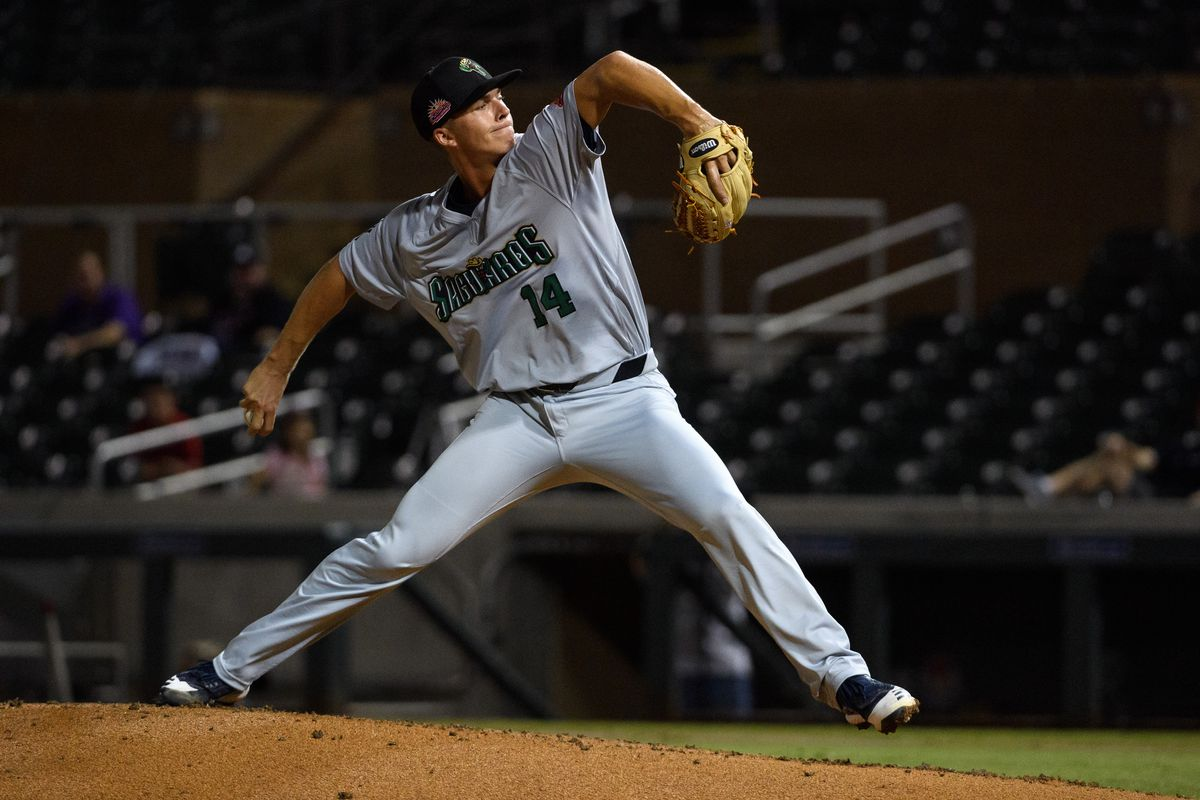 Glenn Otto #14 of the Surprise Saguaros pitches against the Scottsdale Scorpions at Salt River Fields at Talking Stick on Friday, October 11, 2019 in Scottsdale, Arizona.