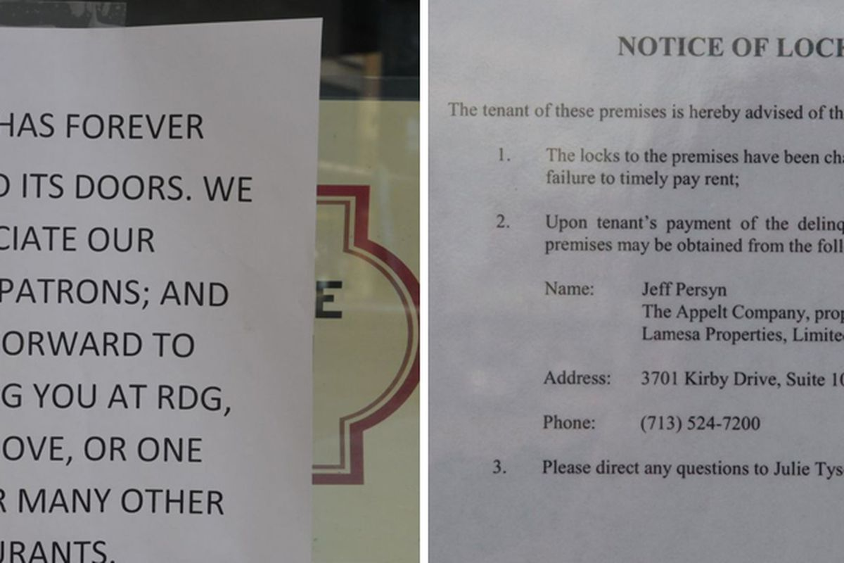 Alto on the left; Maggie Rita's lockout notice on the right