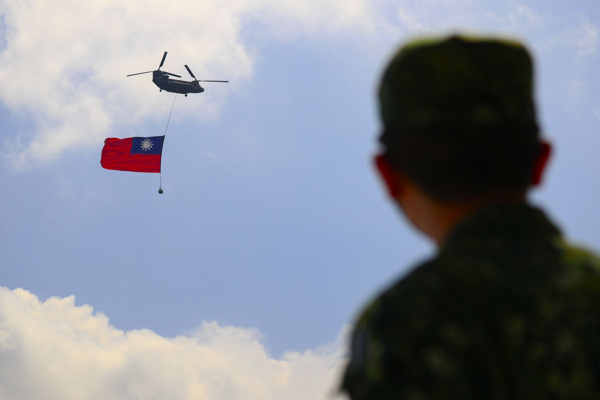 Huge Flag Flyover Rehearsal Ahead Of National Day Celebration