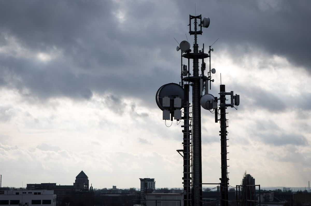 antennas mounted on a roof