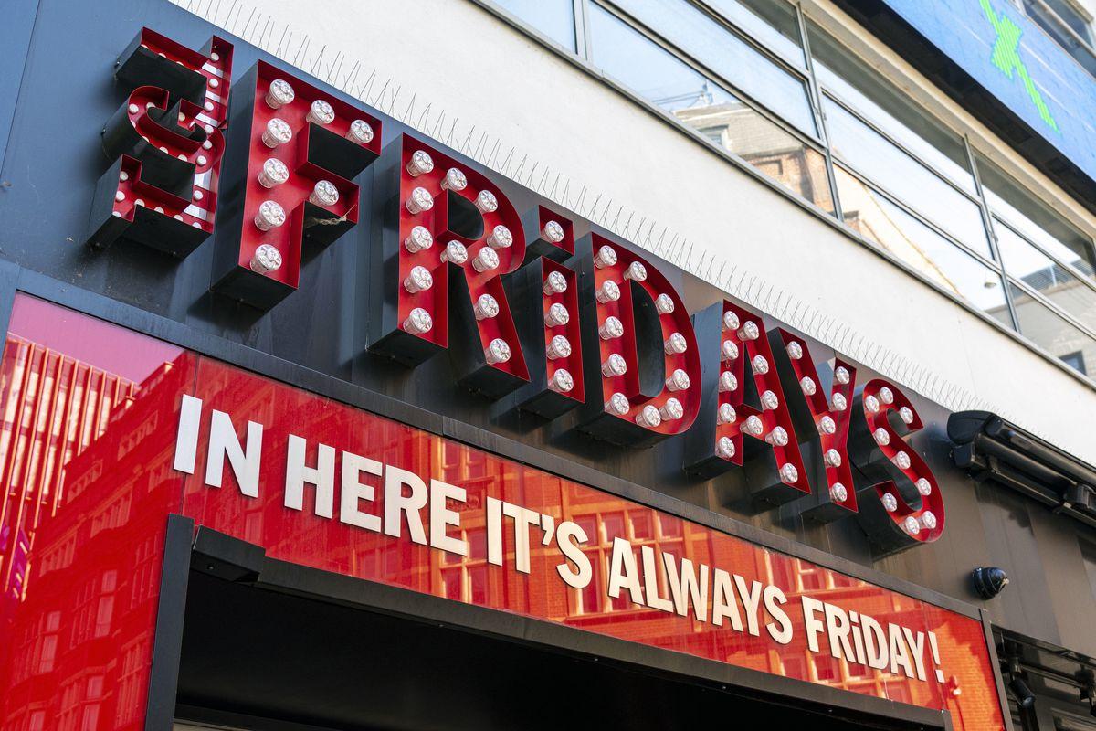 TGI Fridays logo and slogan on their restaurant in Leicester...