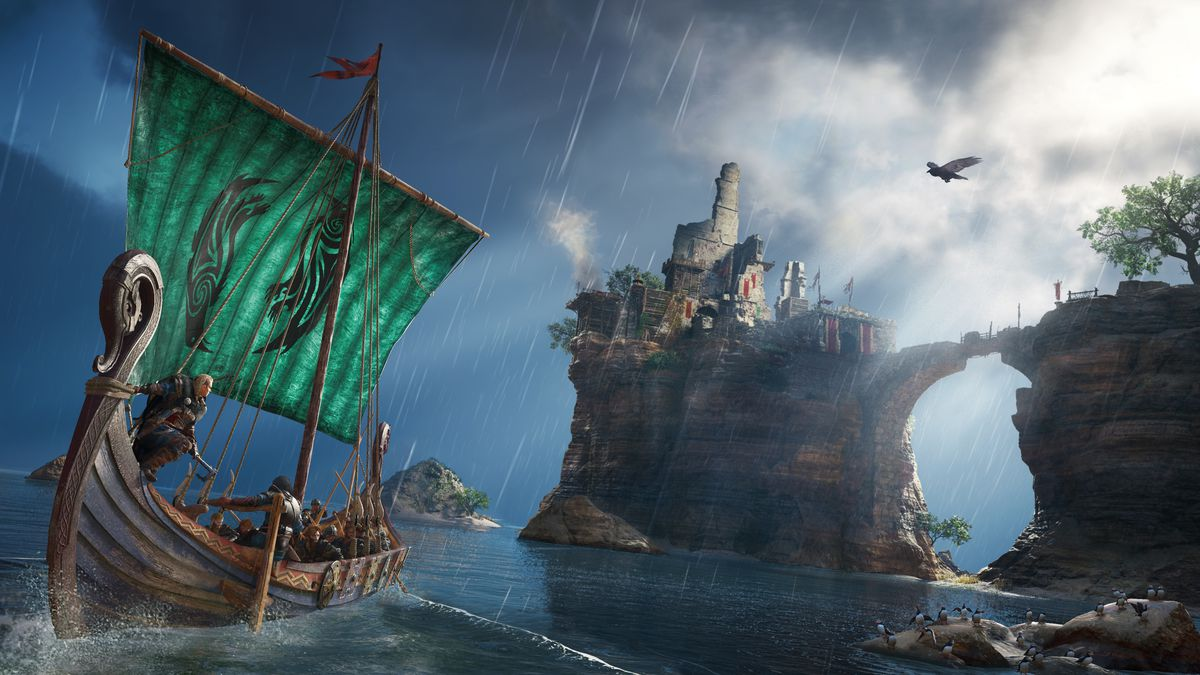 Female Eivor stands on a boat in a screenshot from Assassin's Creed Valhalla
