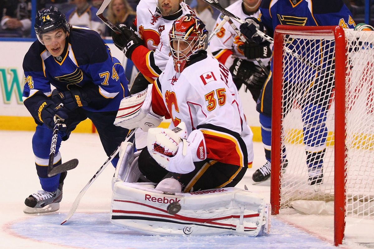 ST. LOUIS, MO - OCTOBER 10: T.J. Oshie #74 of the St. Louis Blues shoots the puck on goal against Henrik Karlsson #35 of the Calgary Flames at the Scottrade Center  on October 10, 2011 in St. Louis, Missouri.  (Photo by Dilip Vishwanat/Getty Images)
