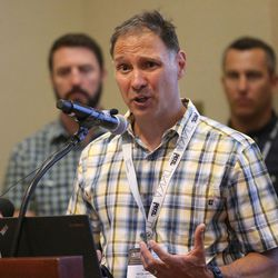 Nazz Kurt, president of Petzl America, speaks at a press conference at the Salt Lake Marriott Downtown at City Creek in Salt Lake City on Thursday, Aug. 4, 2016. During the press conference, representatives of leading sports, ski, health and outdoor companies urged President Barack Obama to permanently protect the Bears Ears region in southeastern Utah.