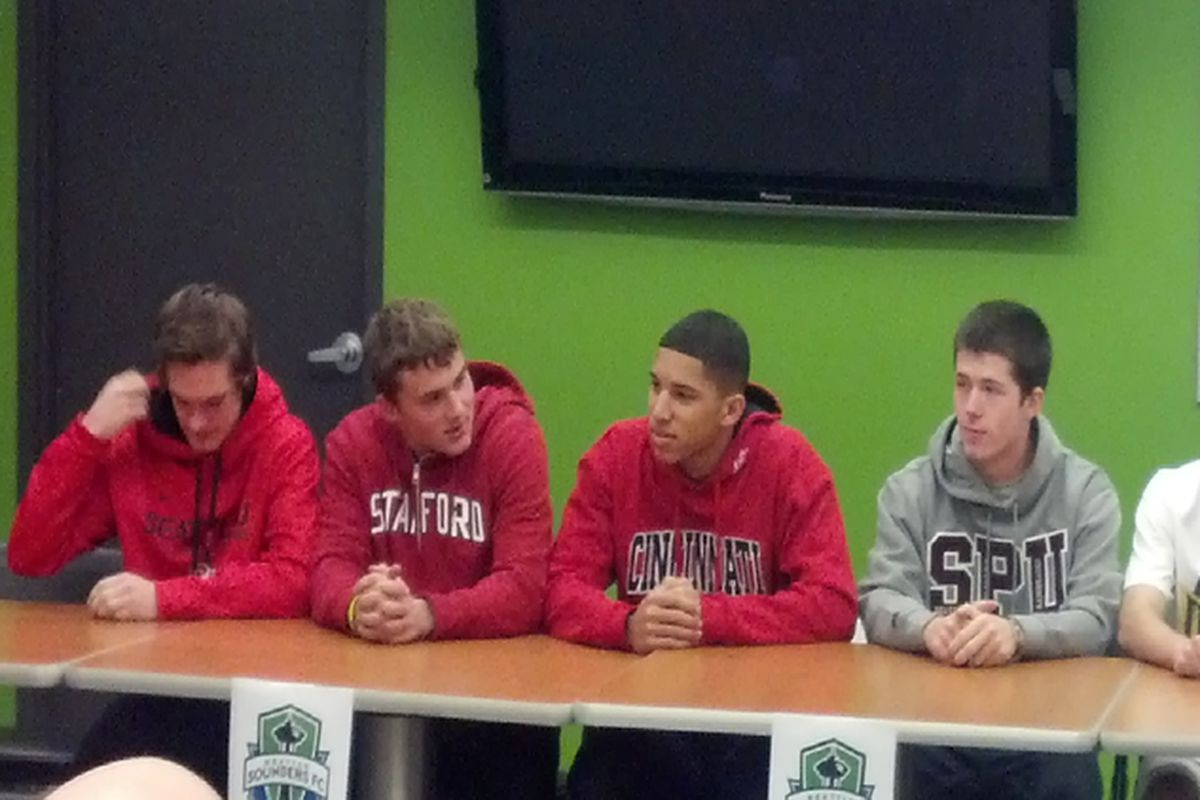 Six of the eight signees were at Monday's event