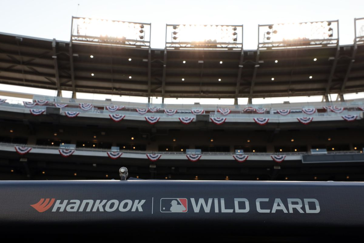 A detail shot of the Hankook logo on the dugout prior to the NL Wild Card game between the Milwaukee Brewers and the Washington Nationals at Nationals Park on Tuesday, October 1, 2019 in Washington, District of Columbia.