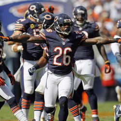 Chicago Bears cornerback Tim Jennings (26) reacts after breaking up a pass against the St. Louis Rams in the second half of an NFL football game in Chicago, Sunday, Sept. 23, 2012. The Bears won 23-6.