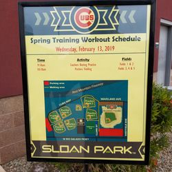 Each day, the Cubs post this schedule for spring workouts