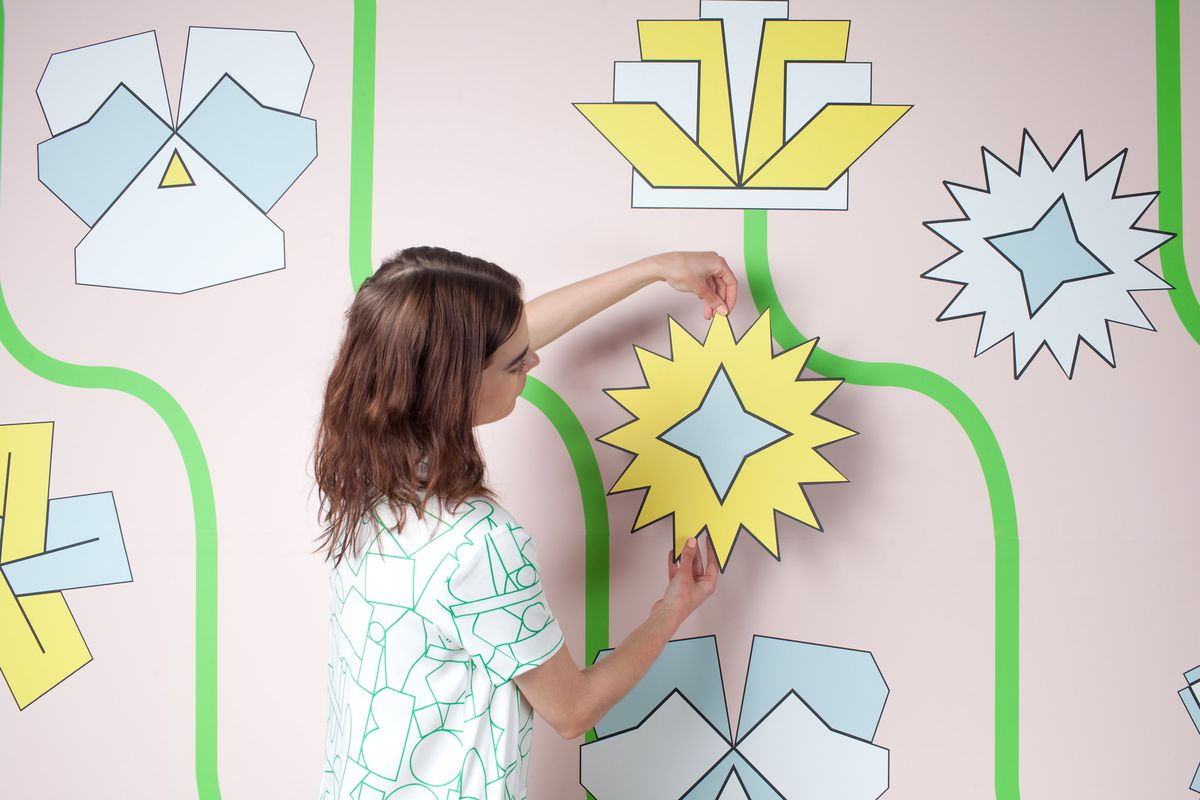 """Dusen Dusen for Visual Magnetics magnetic wall covering in the print """"Futurist Flowers""""."""