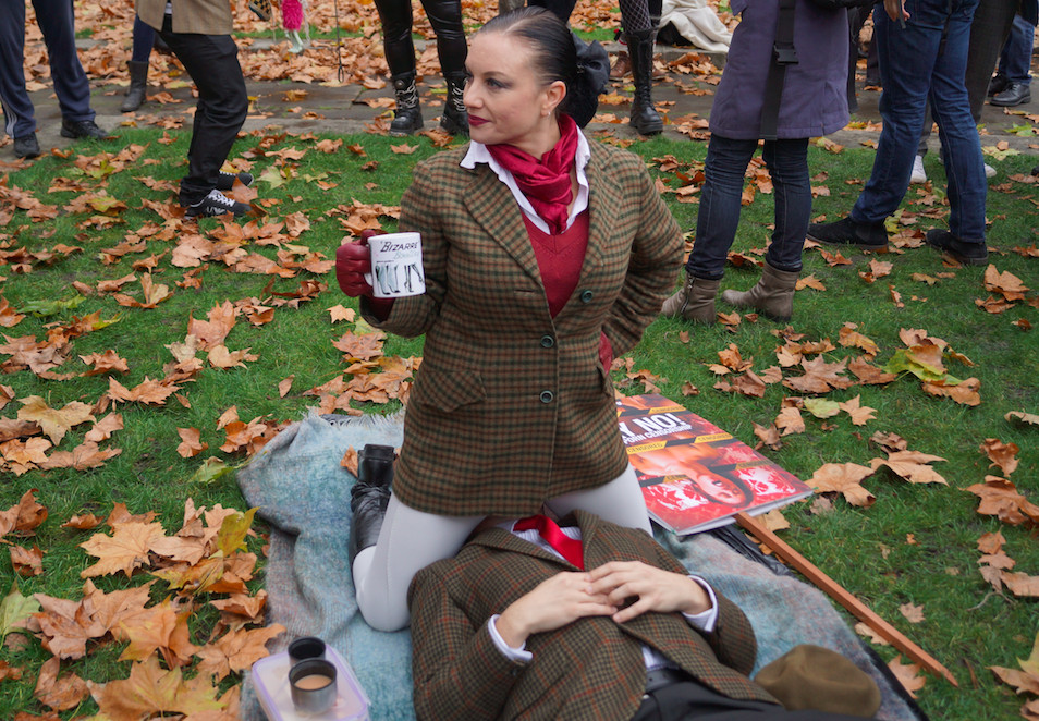 Protestors objecting to the UK's obscenity laws in 2014.