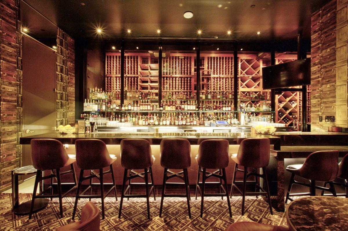 The bar inside a speakeasy in Las Vegas